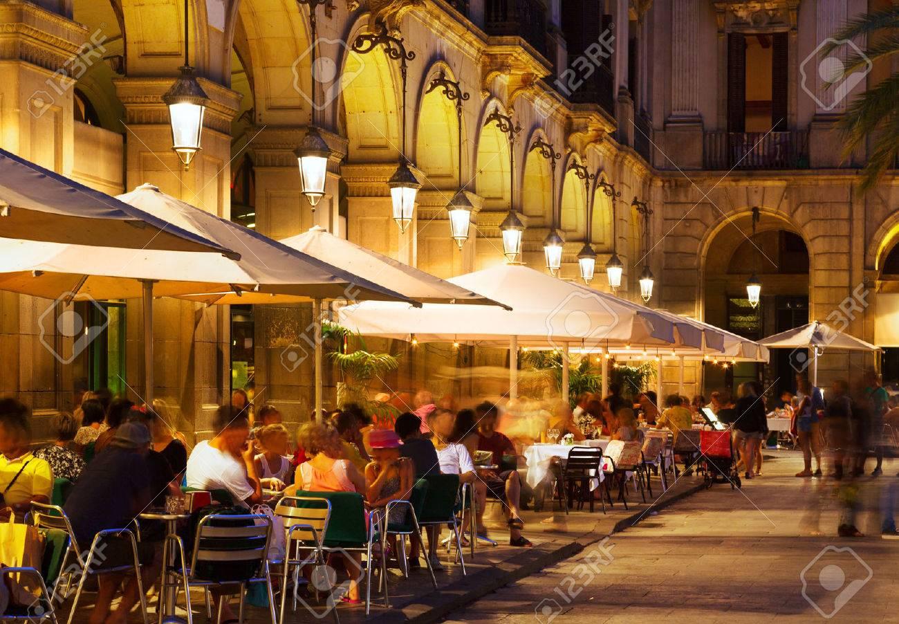 restaurants at Placa Reial in summer night. Barcelona, Catalonia Stock Photo - 45271471