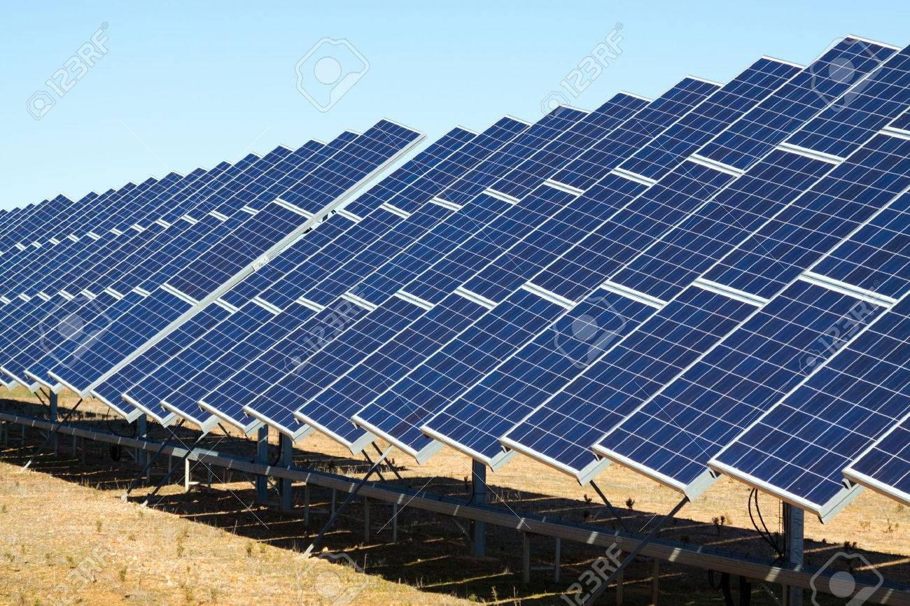 New technology of energy production: electric solar panel system Stock Photo - 47626445