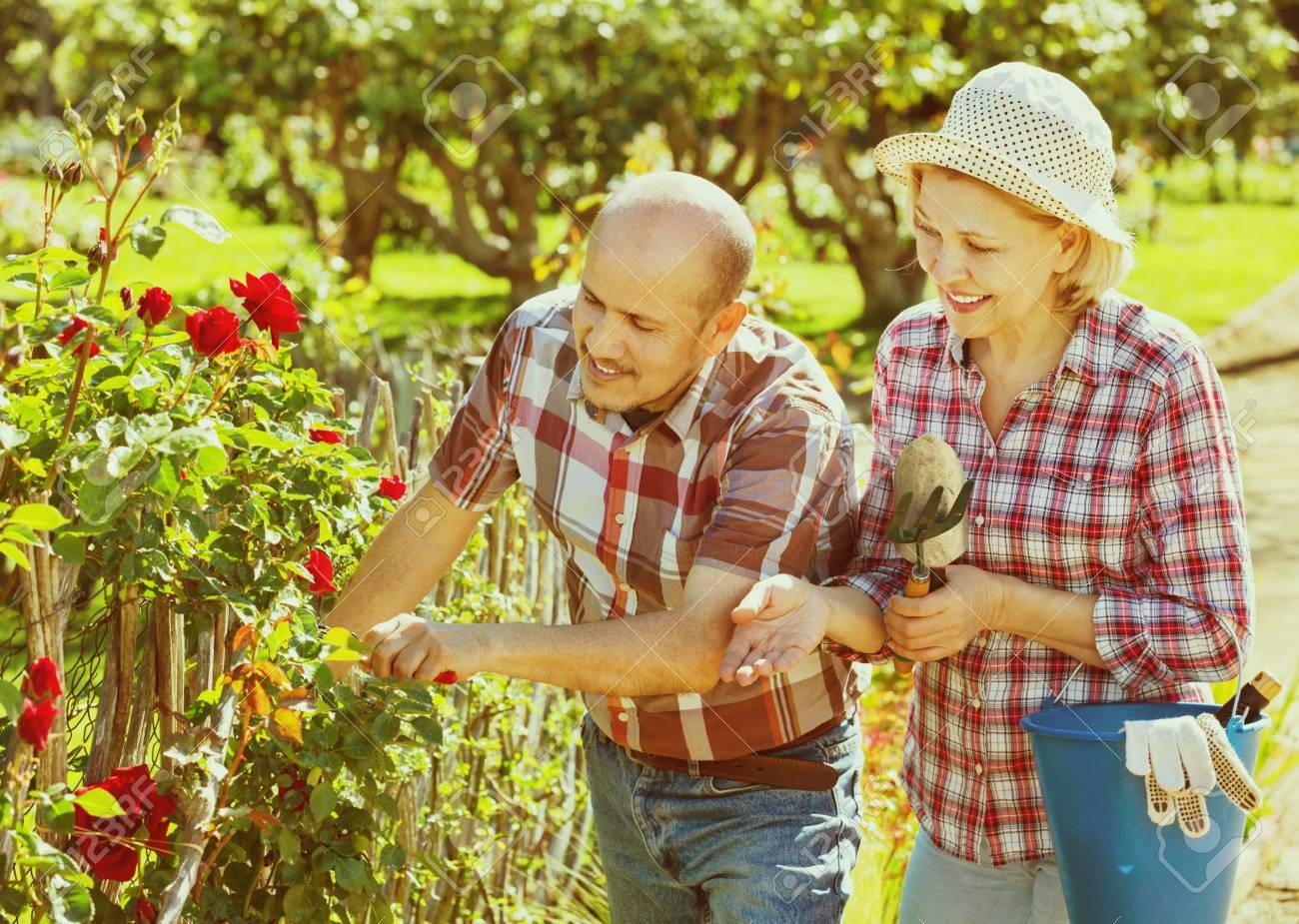 Lächeln Glücklich Senior Paar Auf Der Suche Nach Blumen Im Garten