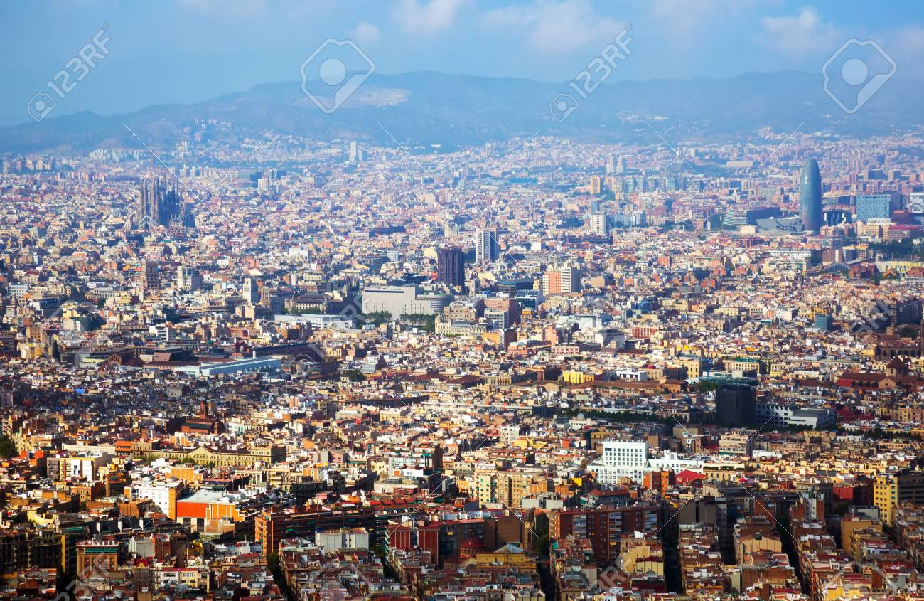 Aerial View Of Historical Part Ciutat Vella Of Barcelona Stock Photo ...