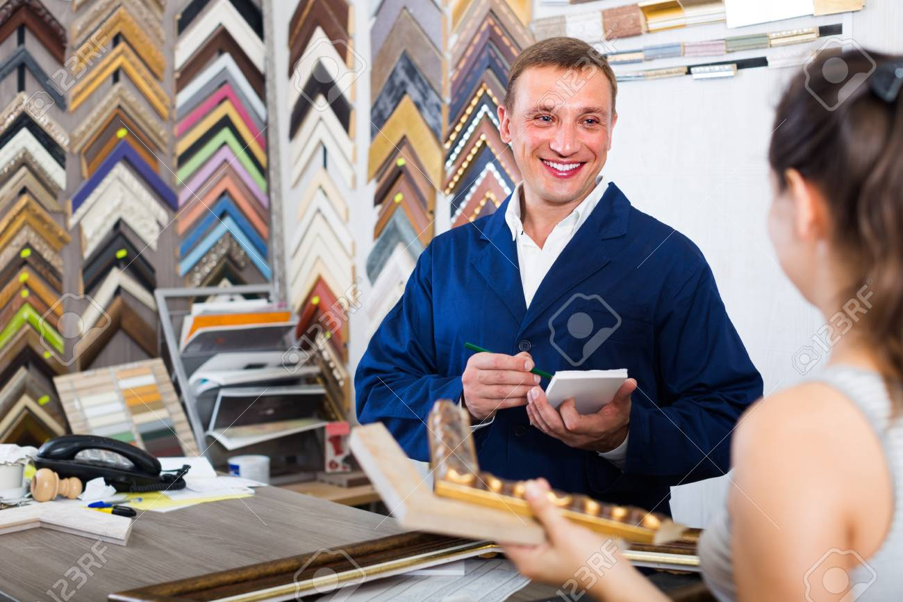 Professional seller talking to customer in picture framing studio professional seller talking to customer in picture framing studio stock photo 83428606 jeuxipadfo Image collections