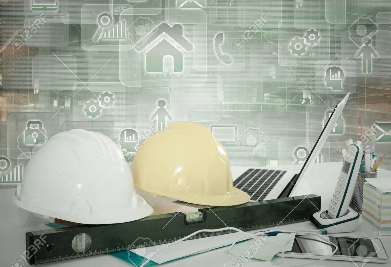 virtual office tools. Engineering Tools On Office Desk Background With Virtual Digital Touchscreen Stock Photo - 85008543