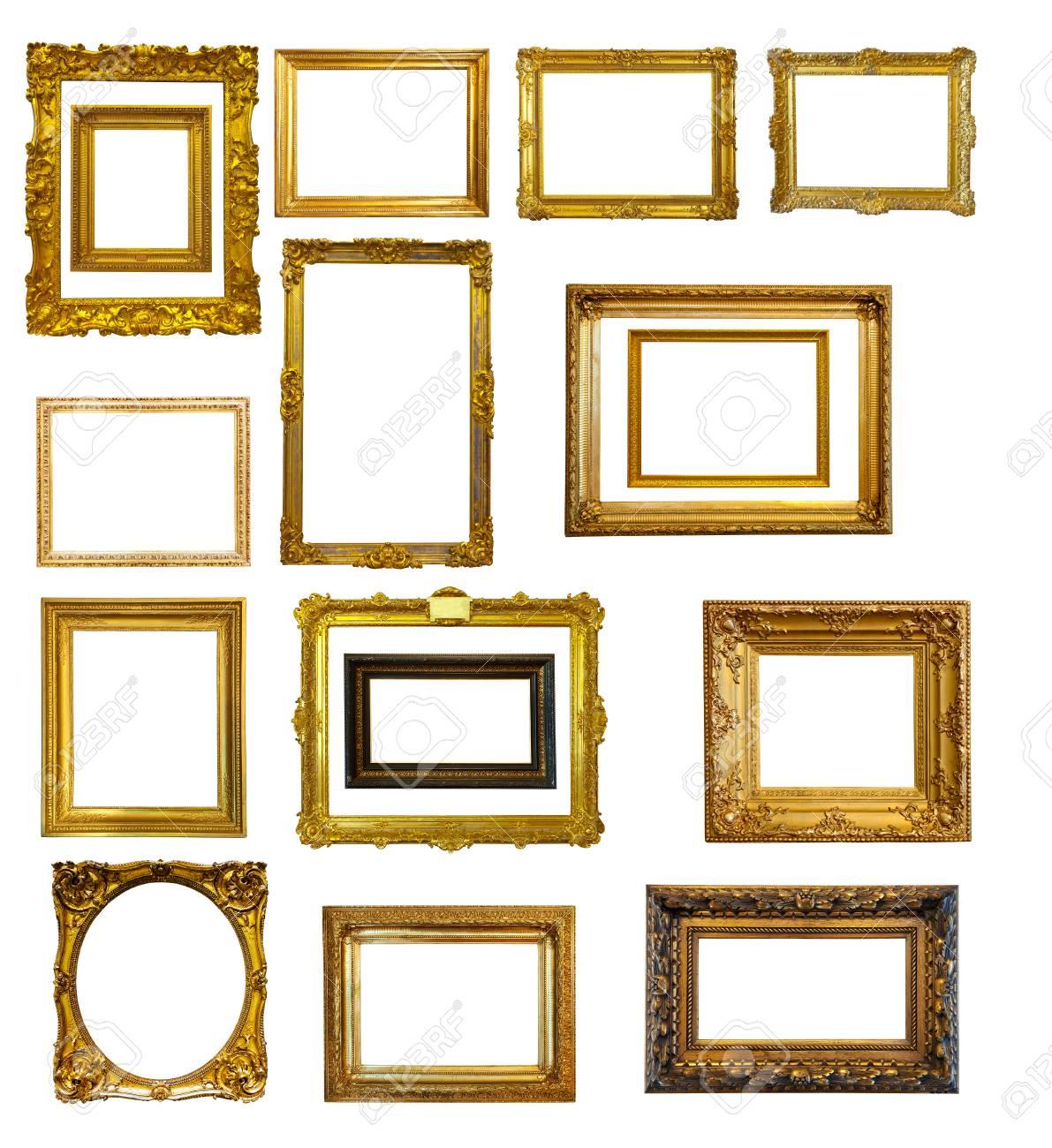 Set Von Vielen Gold Bilderrahmen. Isolierte über Weißem Hintergrund ...