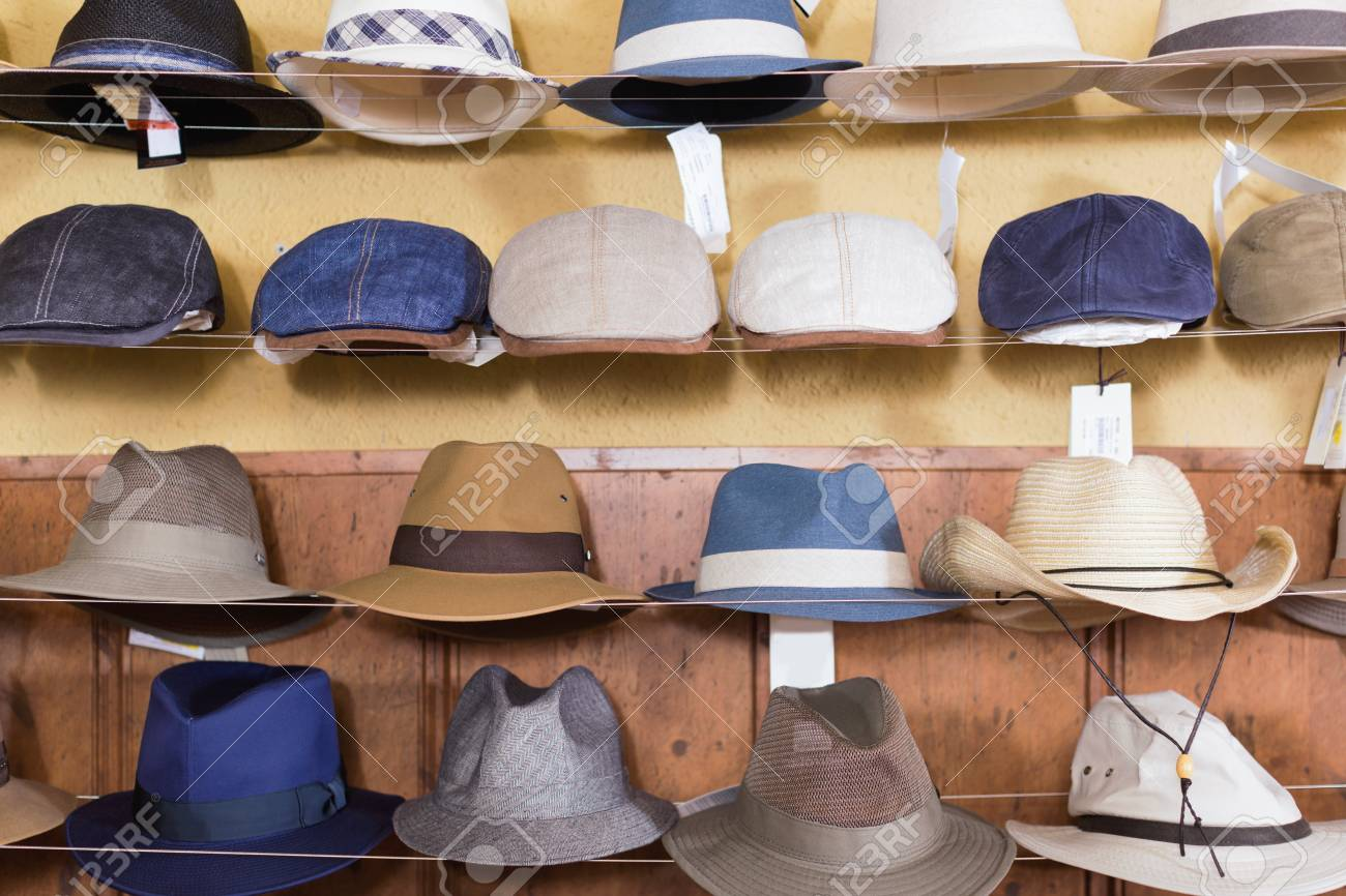 Trendy Fedora Hats Hanging On The Wall Of Country Shop Stock Photo ... fc0b76b50b3