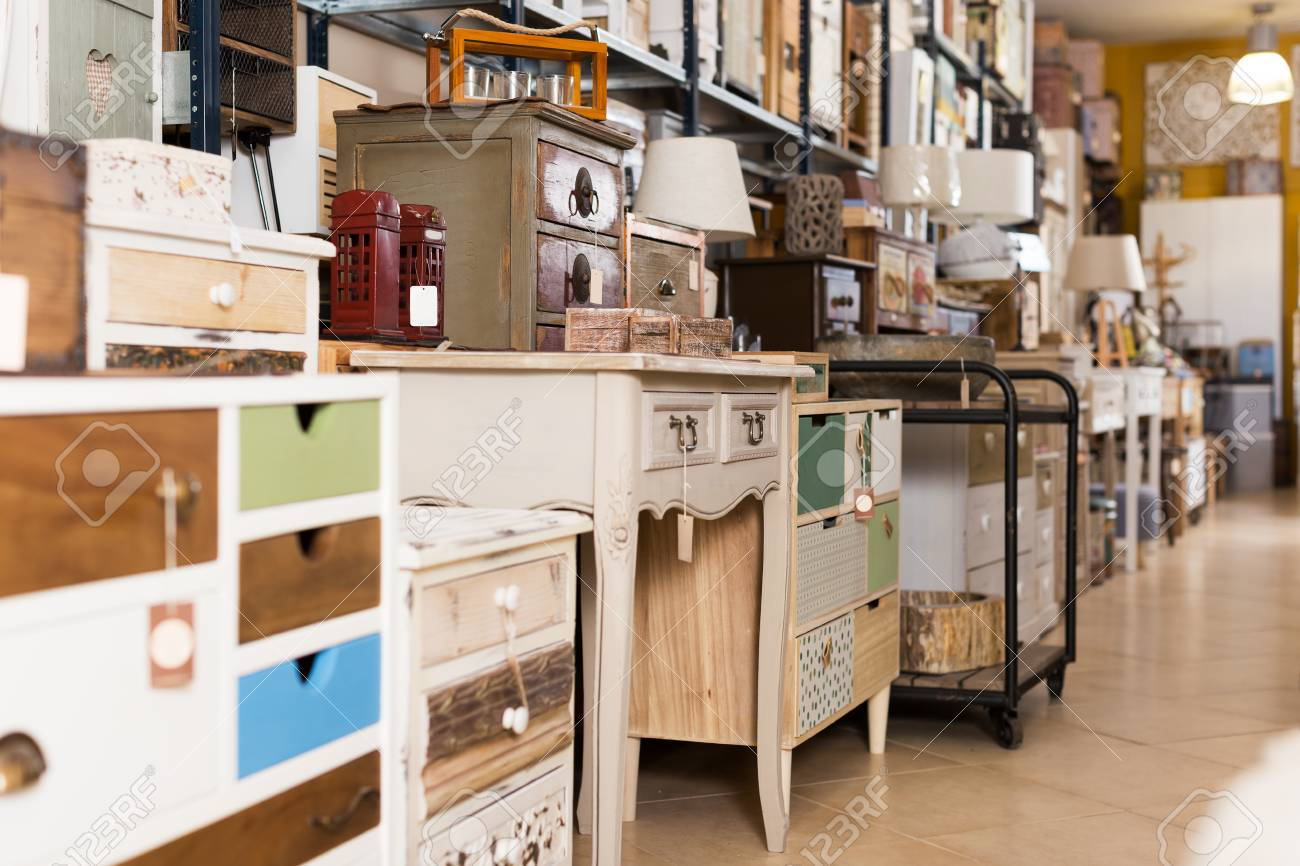 Stock photo variety of quality designer furniture selling in the modern furniture shop