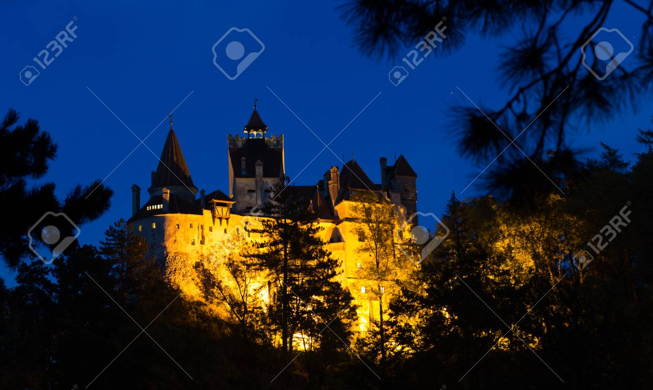 Medieval Bran Castle Commonly Known As Dracula Castle At Night