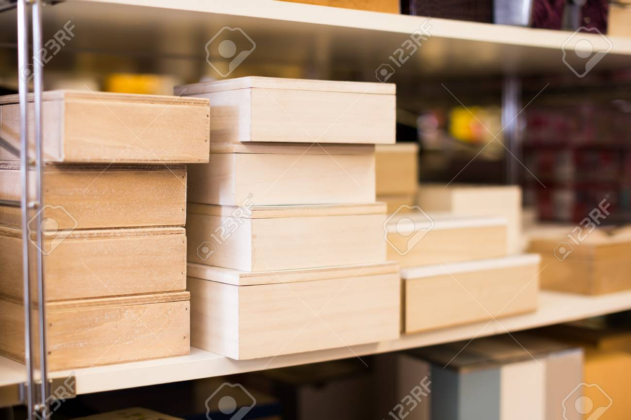 Image of boxes for design apartment in a modern home decor store stock photo 96231237