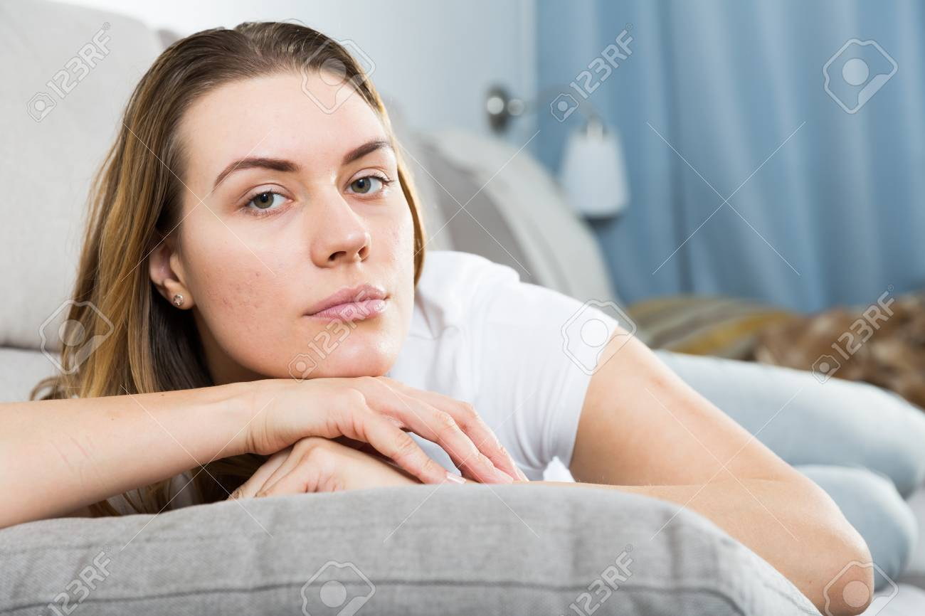 Sad Woman Is Propped Her Cheeks With Hands Because She Bored.. Stock ...