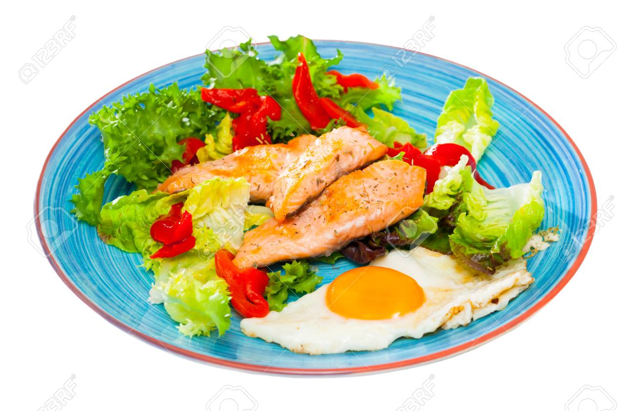 Low Calorie Healthy Breakfast With Roasted Trout Scrambled Eggs