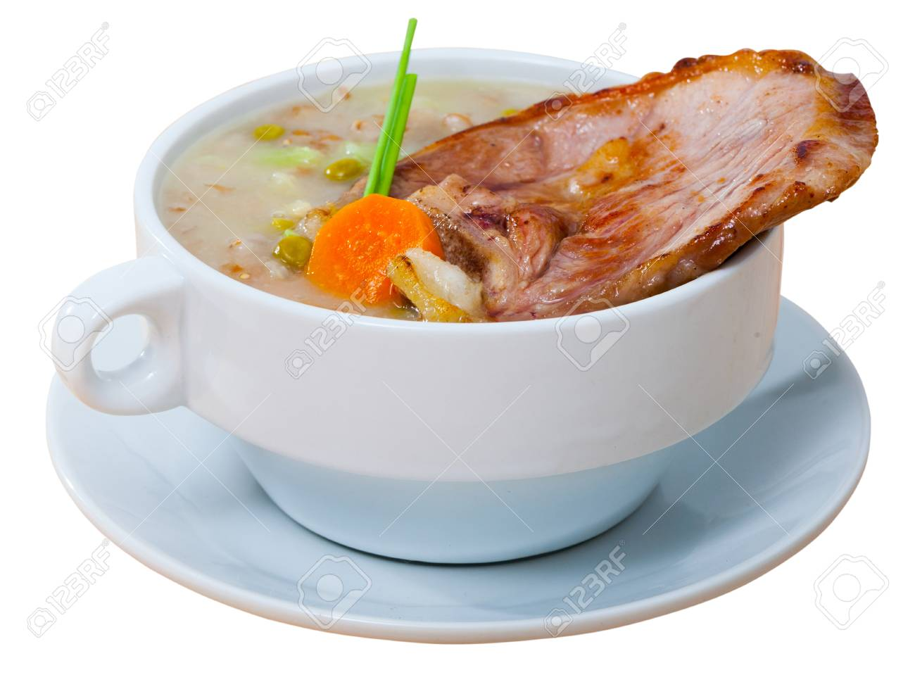 Traditional Scotch Broth With Barley Stewing Shank Of Lamb