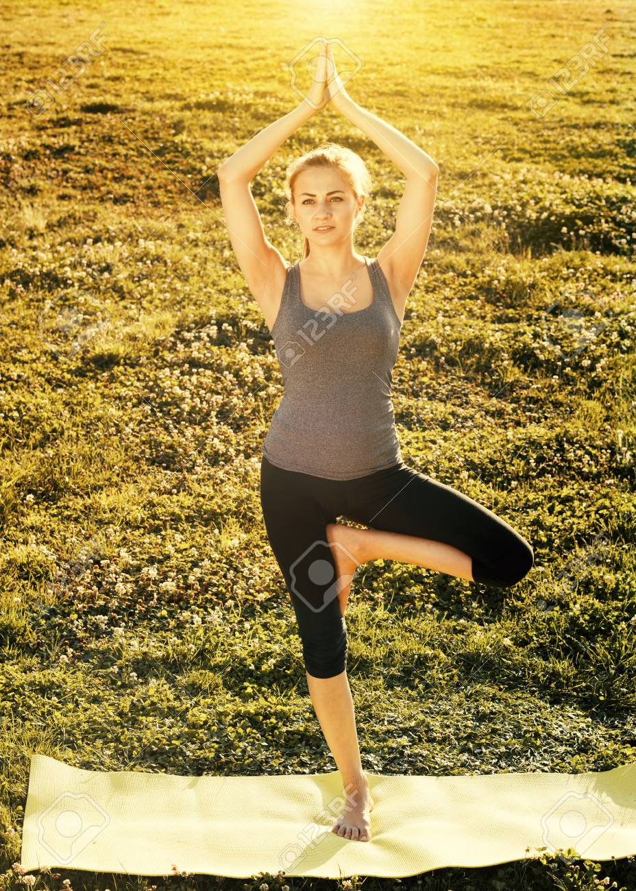 Young Spanish Sportwoman Practicing Various Yoga Positions In Stock Photo Picture And Royalty Free Image Image 111433547
