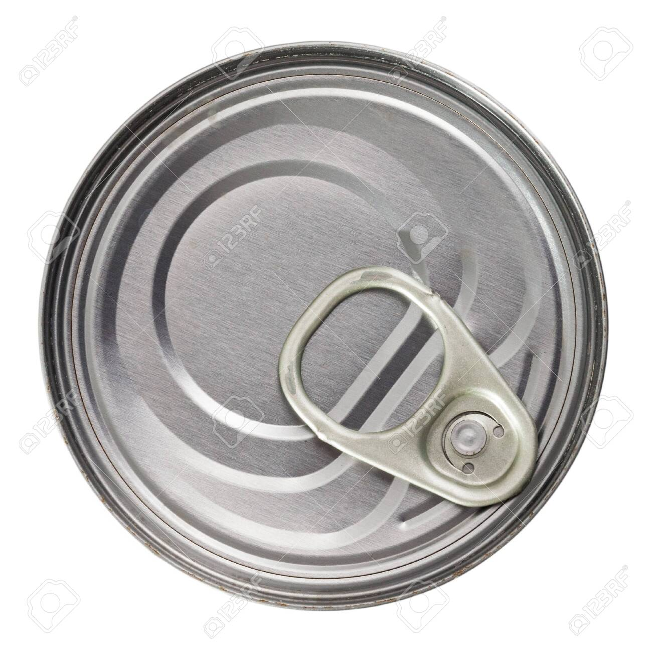 Silver tin can closeup. Isolated over white background - 129677456