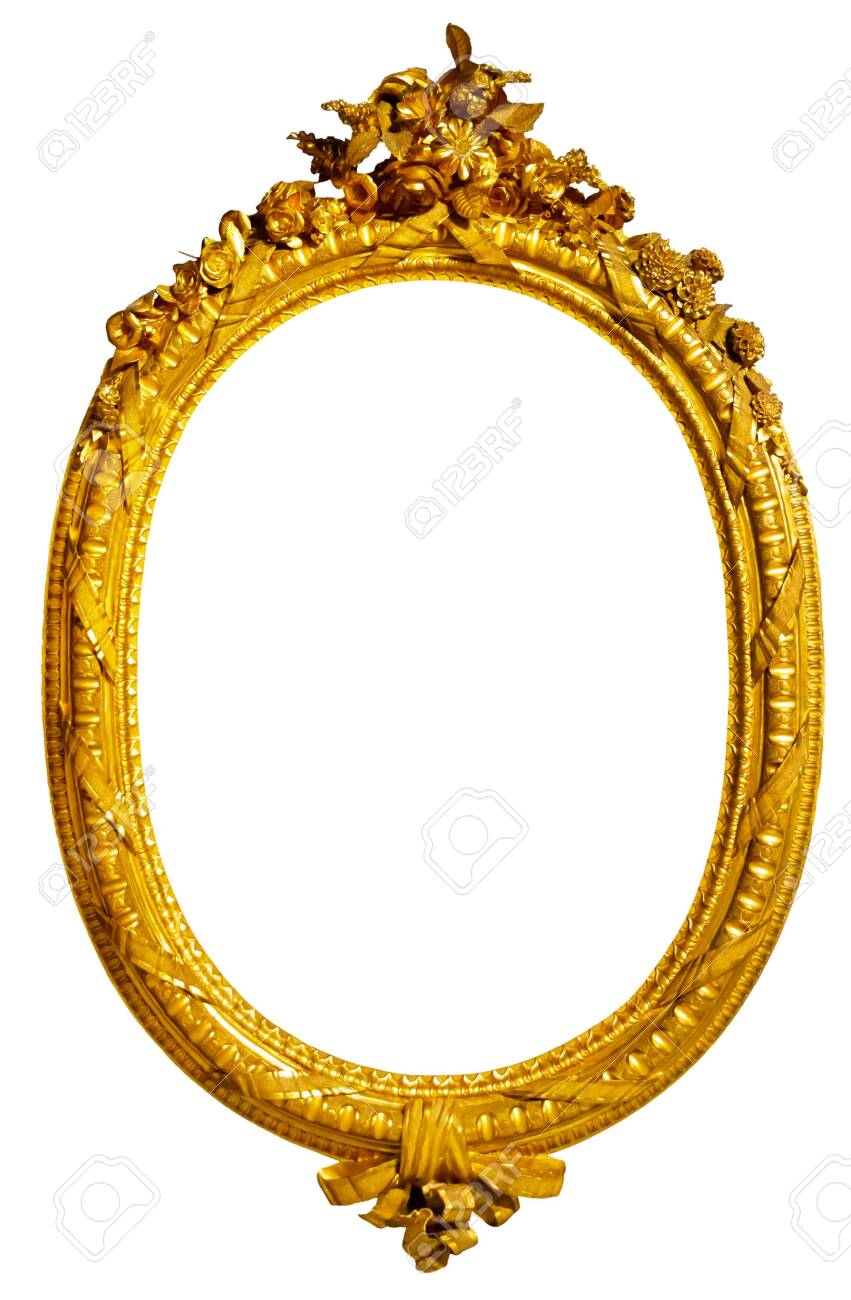 oval gold picture frame - 130848556