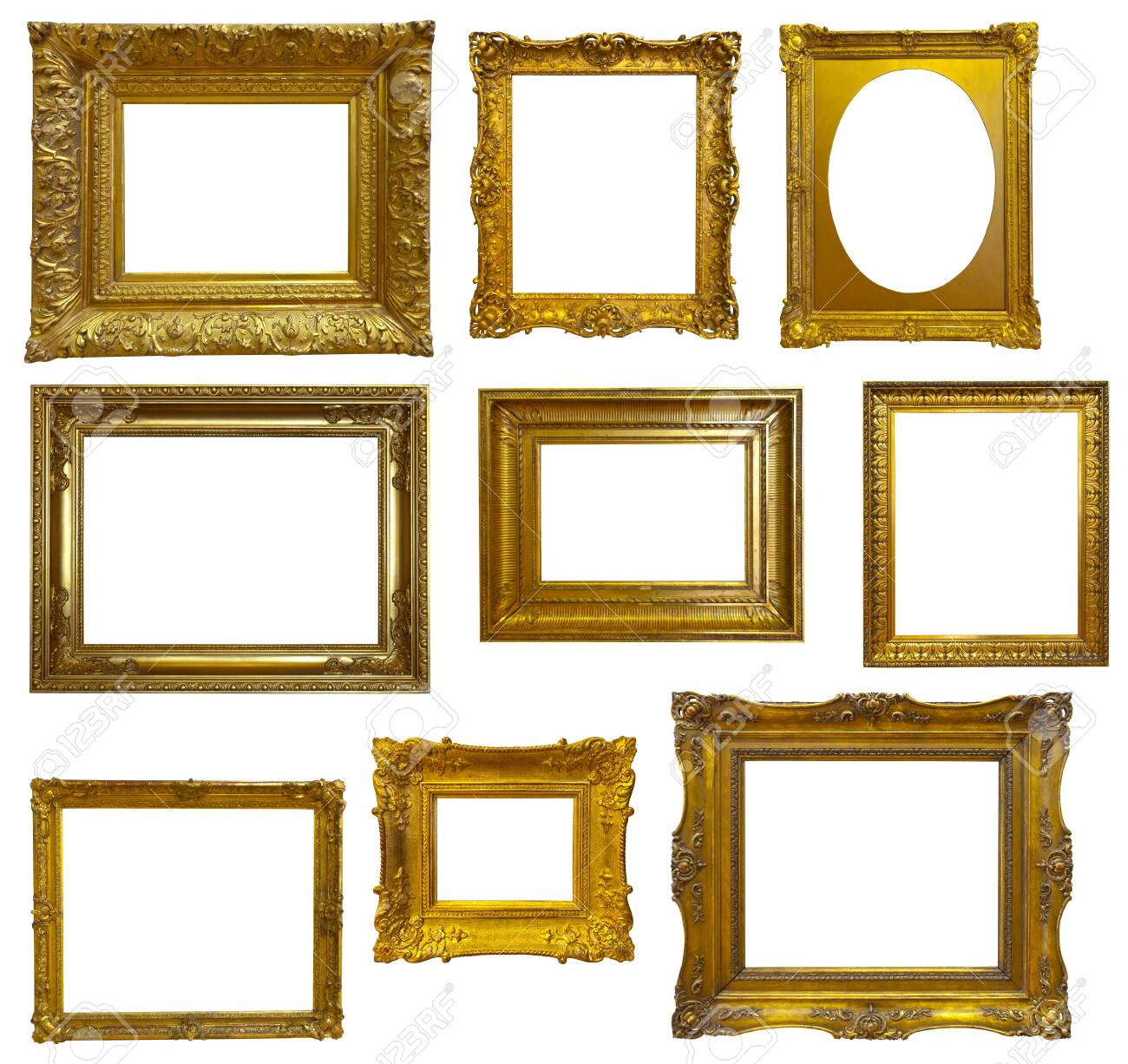 Set of luxury gilded frame. Isolated over white background, may be used for photo or picture - 132101648