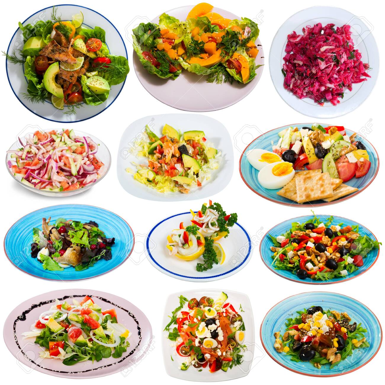 Set of various salads isolated on white background - 134555154
