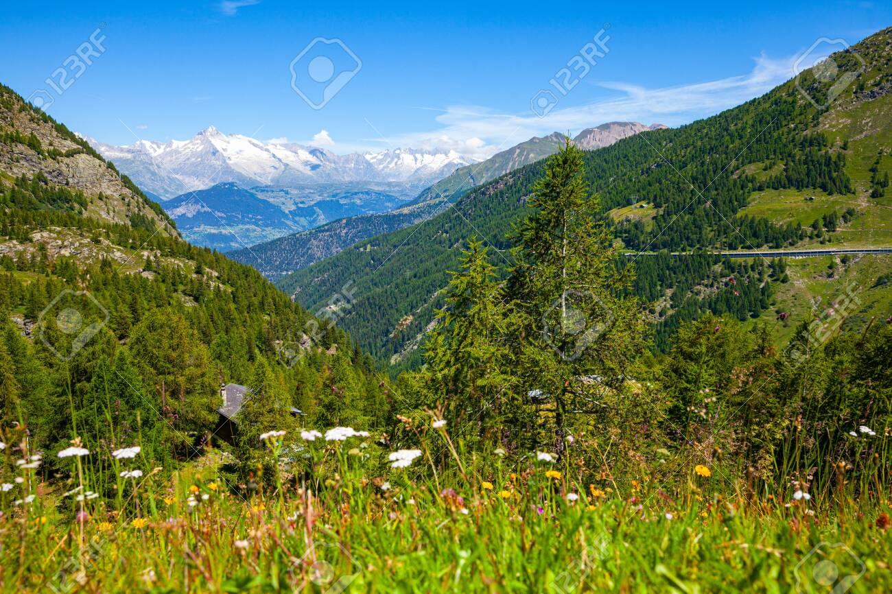 Panoramic view on Simplon pass in Switzerland - 154526824