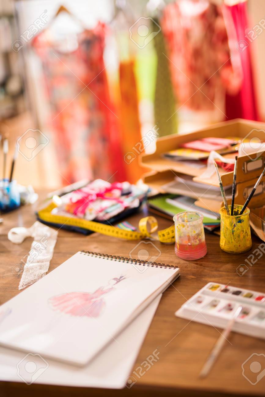 Workshop Of A Fashion Designer Draw Of A New Model On The Desk Stock Photo Picture And Royalty Free Image Image 101595715