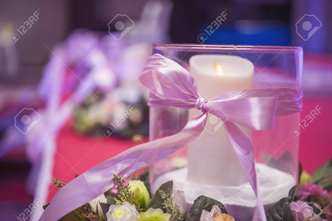 Wedding Party Decoration Set, A Glass With White Candle And Pink ...