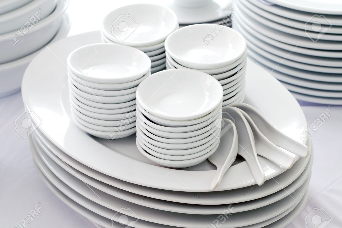 set of white dishes spoon and bowl stock photo picture and royalty