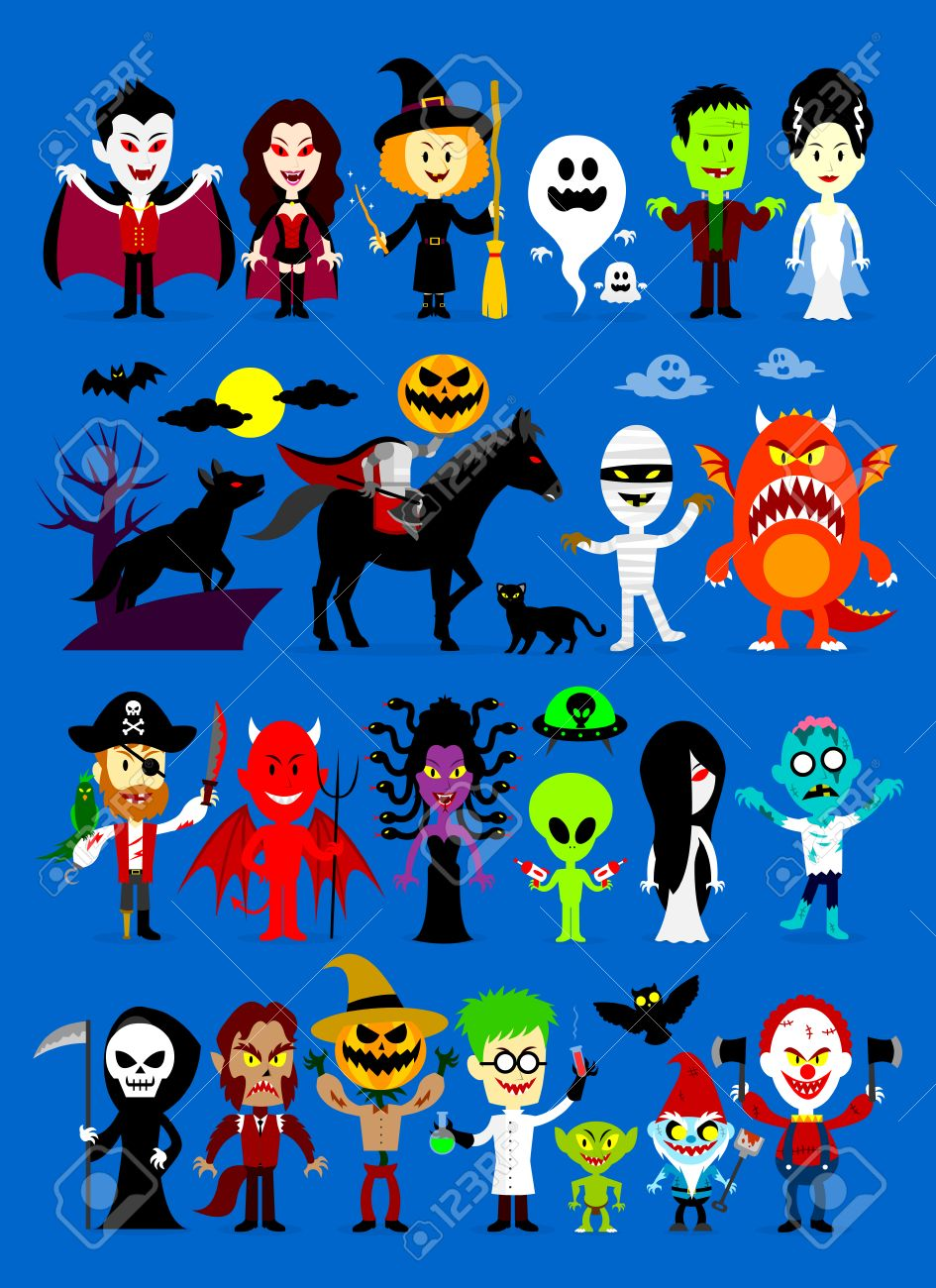 monsters mash halloween characters royalty free cliparts, vectors