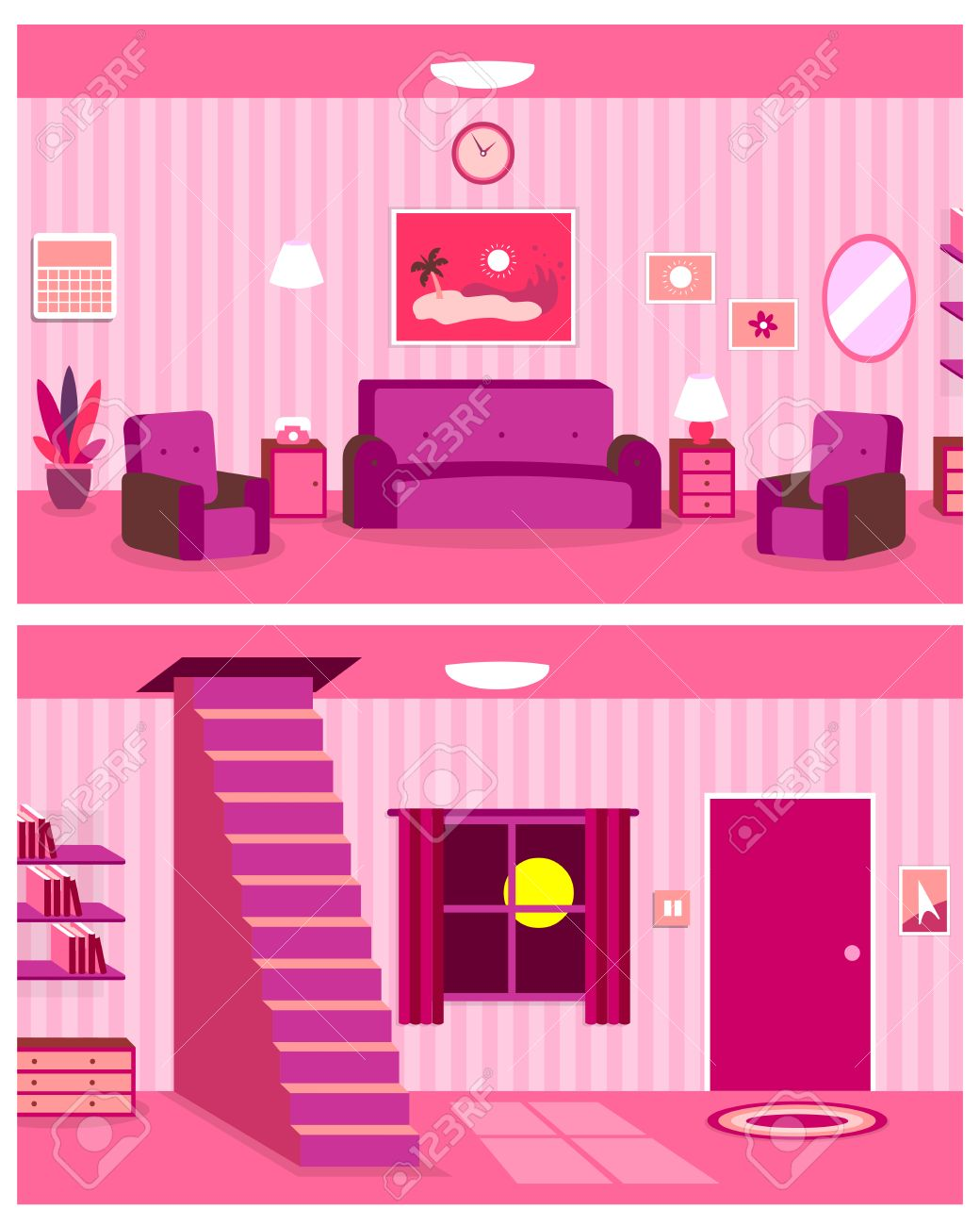 Vector Cartoon Continuous Background Of Living Room Interior Stock