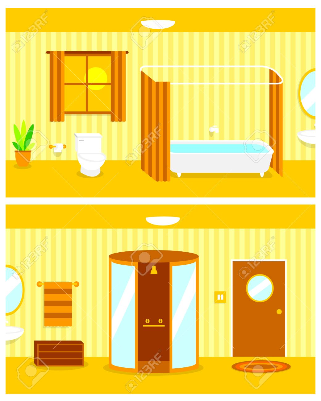 Vector Cartoon Continuous Background Of Bathroom Interior Royalty