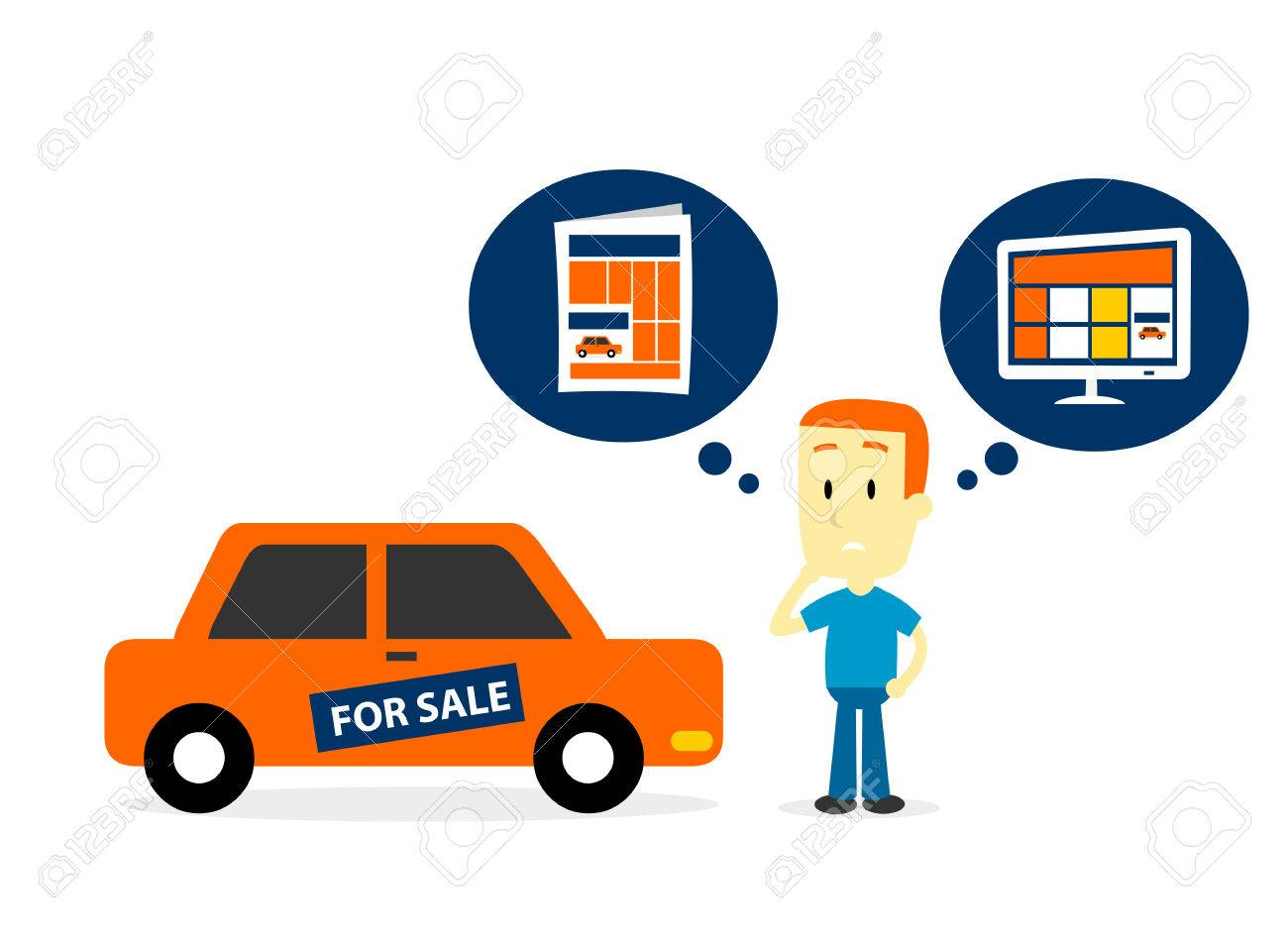 Man Thinking To Sell His Old Car On Newspaper Ads Or Website ...