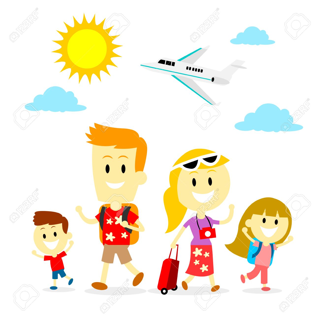mom dad and two kids spending holiday with a family trip in flat cartoon - Holiday Cartoon Images