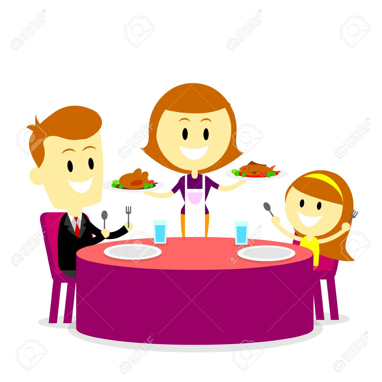 Family Dinner Table Clipart Mom Serving Meals For Stock Vector