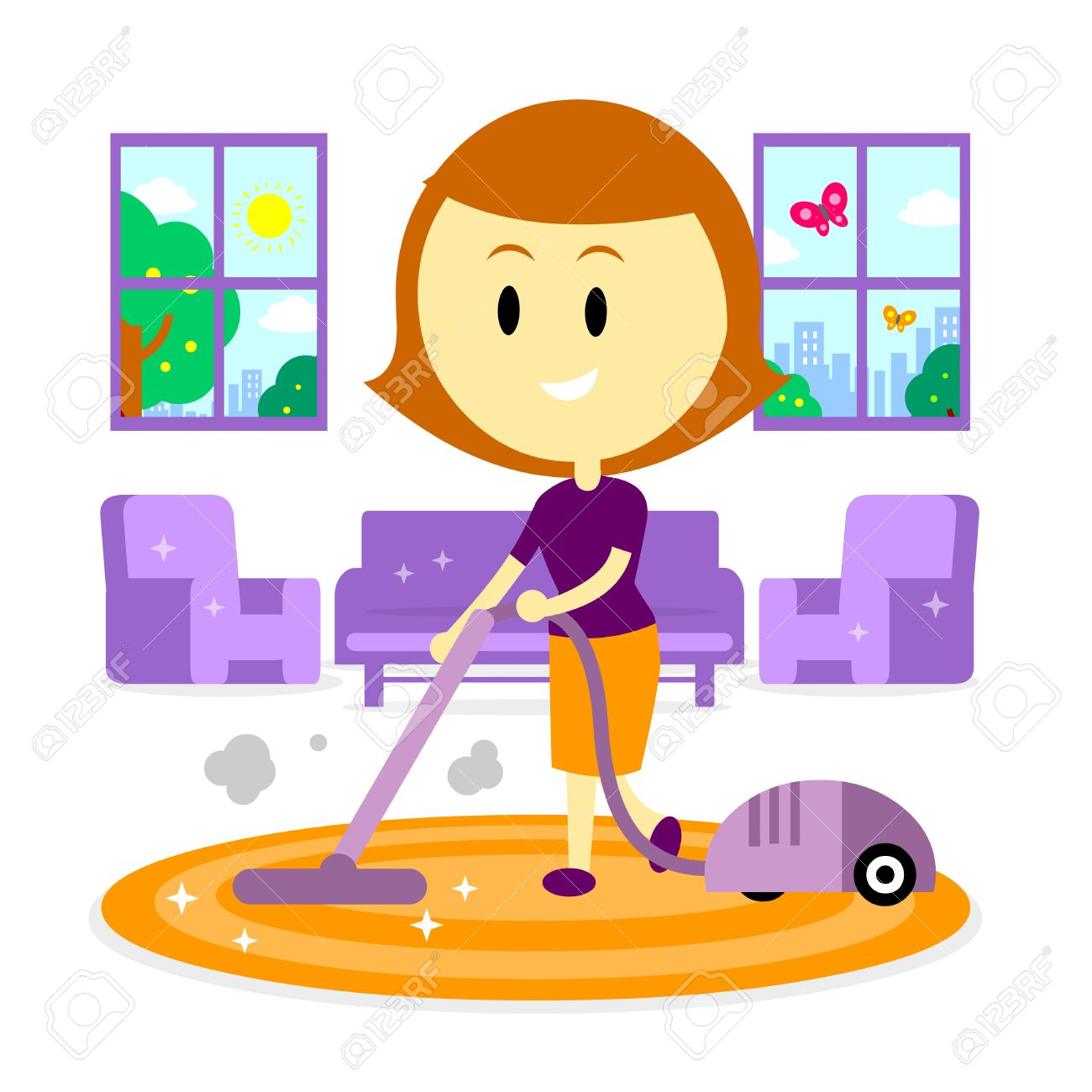 A Woman Mom Cleaning Living Room Of Her House Using Vacuum Cleaner In The Springtime