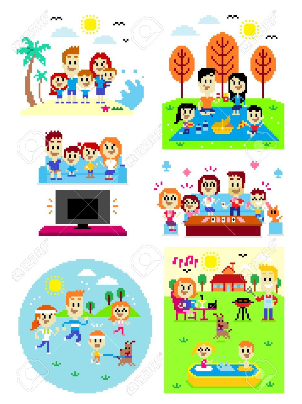 6 Cliparts Of Happy Family Time Family At The Beach Fun Family