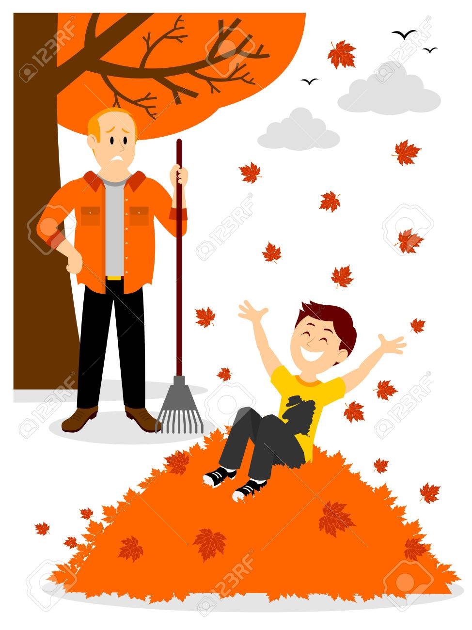 Boy Jumping In A Leaf Pile Clipart Royalty Free Cliparts Vectors