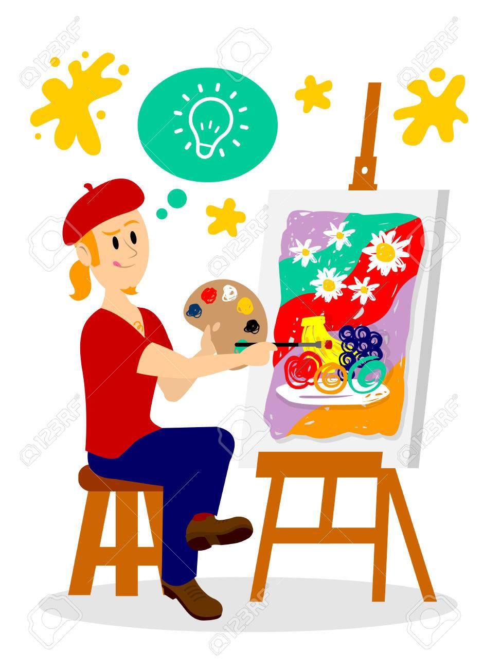 アーティストの絵画の彼の傑作のクリップアート ロイヤリティフリー