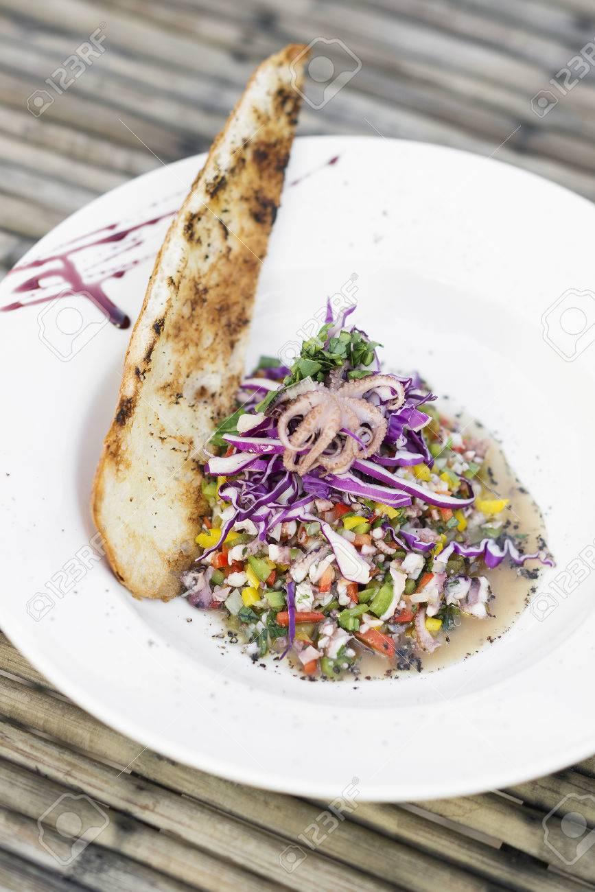 Oktopus-Salat Traditionellen Portugiesischen Stil Küche Lizenzfreie ...