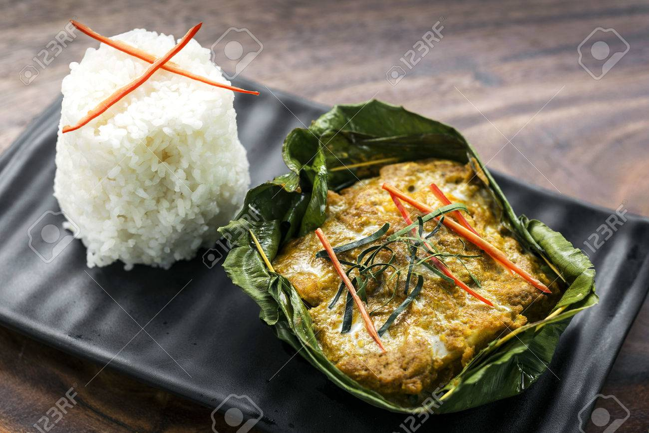 traditional Cambodian khmer fish amok curry meal - 85853729