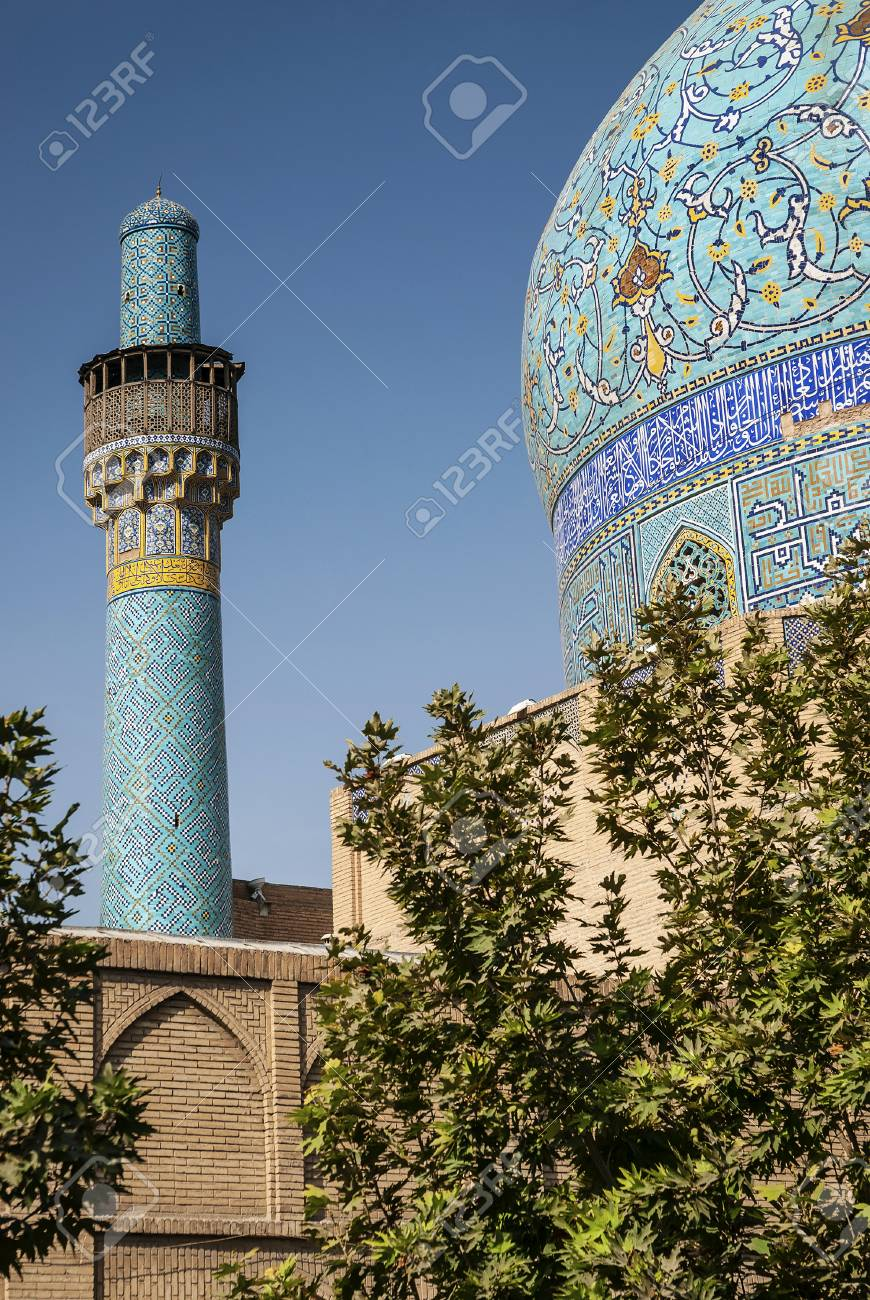 persian islamic architecture detail of imam mosque landmark in