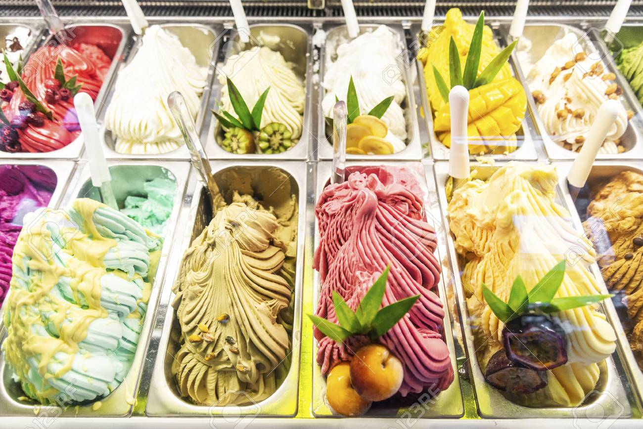 Various Italian Gelato Ice Cream Flavours In Modern Shop Display.. Stock  Photo, Picture And Royalty Free Image. Image 110565207.
