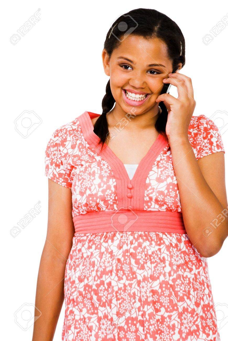 Teenage girl talking on a mobile phone isolated over white Stock Photo - 9412367