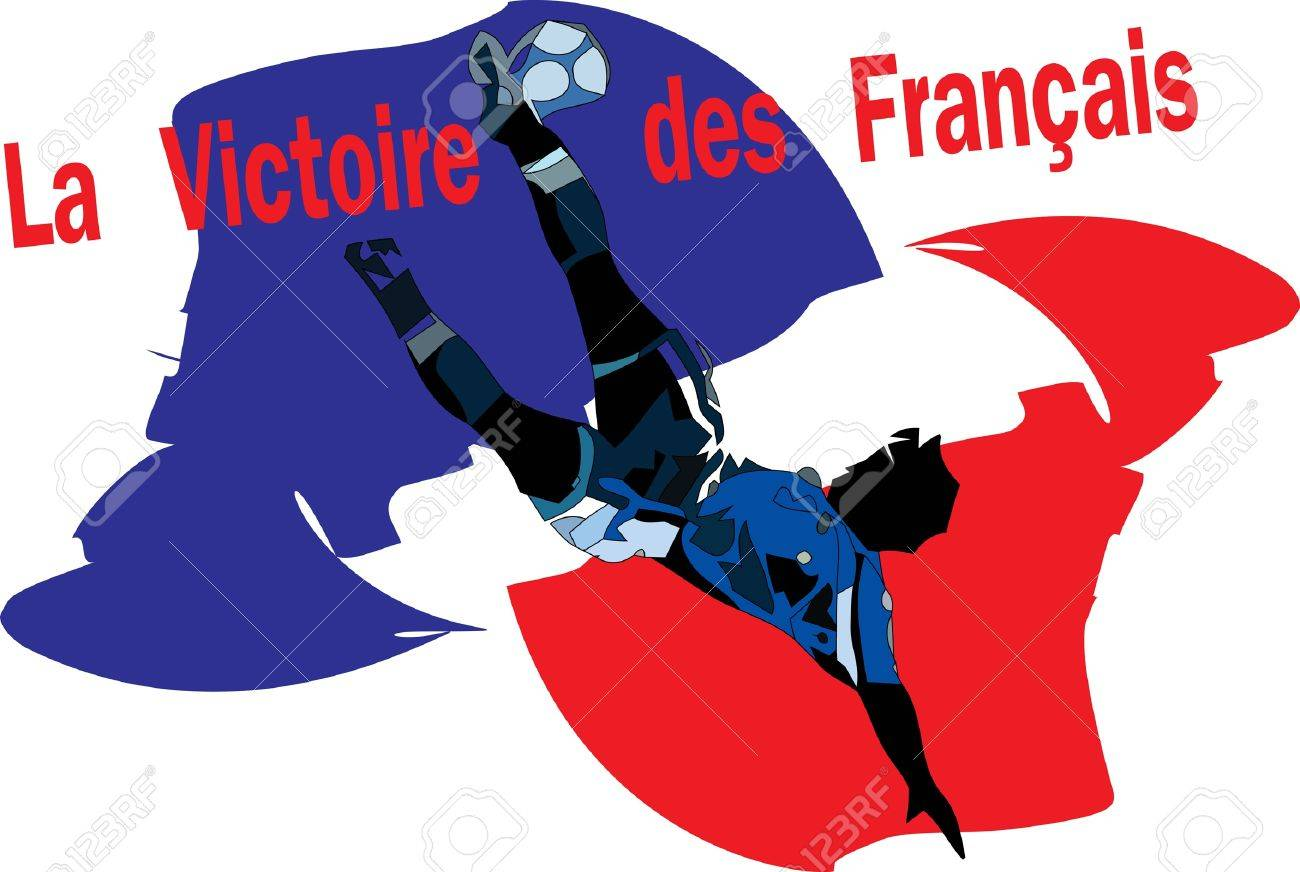 Football player and France flag Stock Vector - 13981275