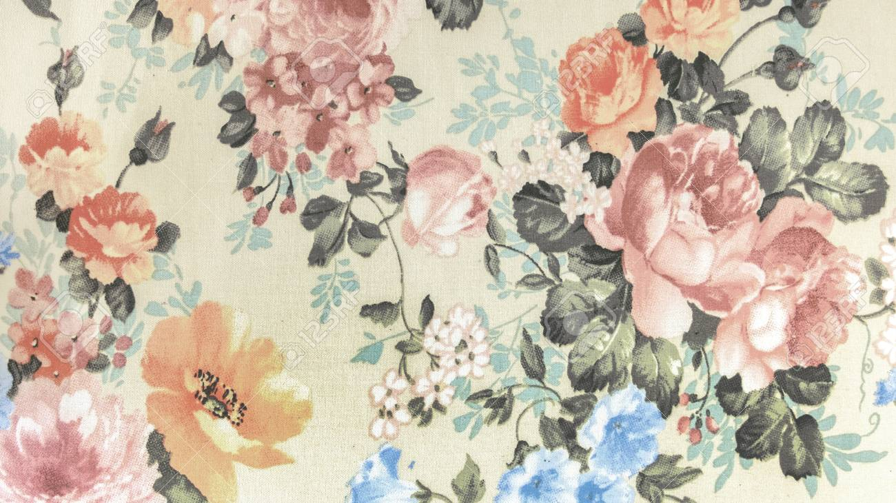 Retro Floral Pattern Fabric Background Vintage Style Stock Photo