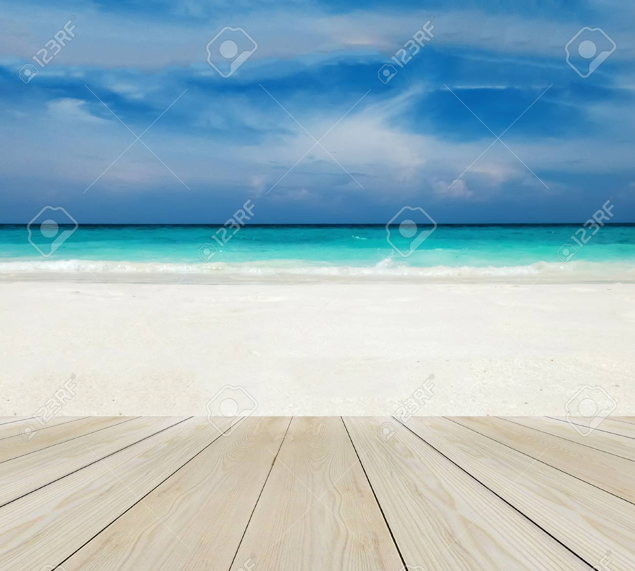 Superb Wood Terrace On The Beach With Clear Sky, Blue Sea And Copyspace On White  Sand