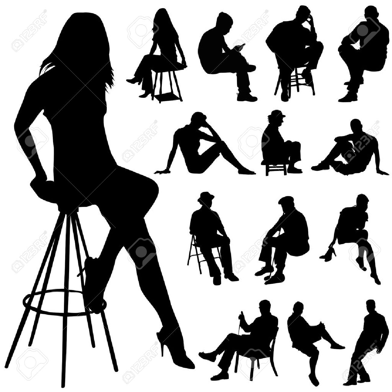 sitting people Stock Vector - 8333881
