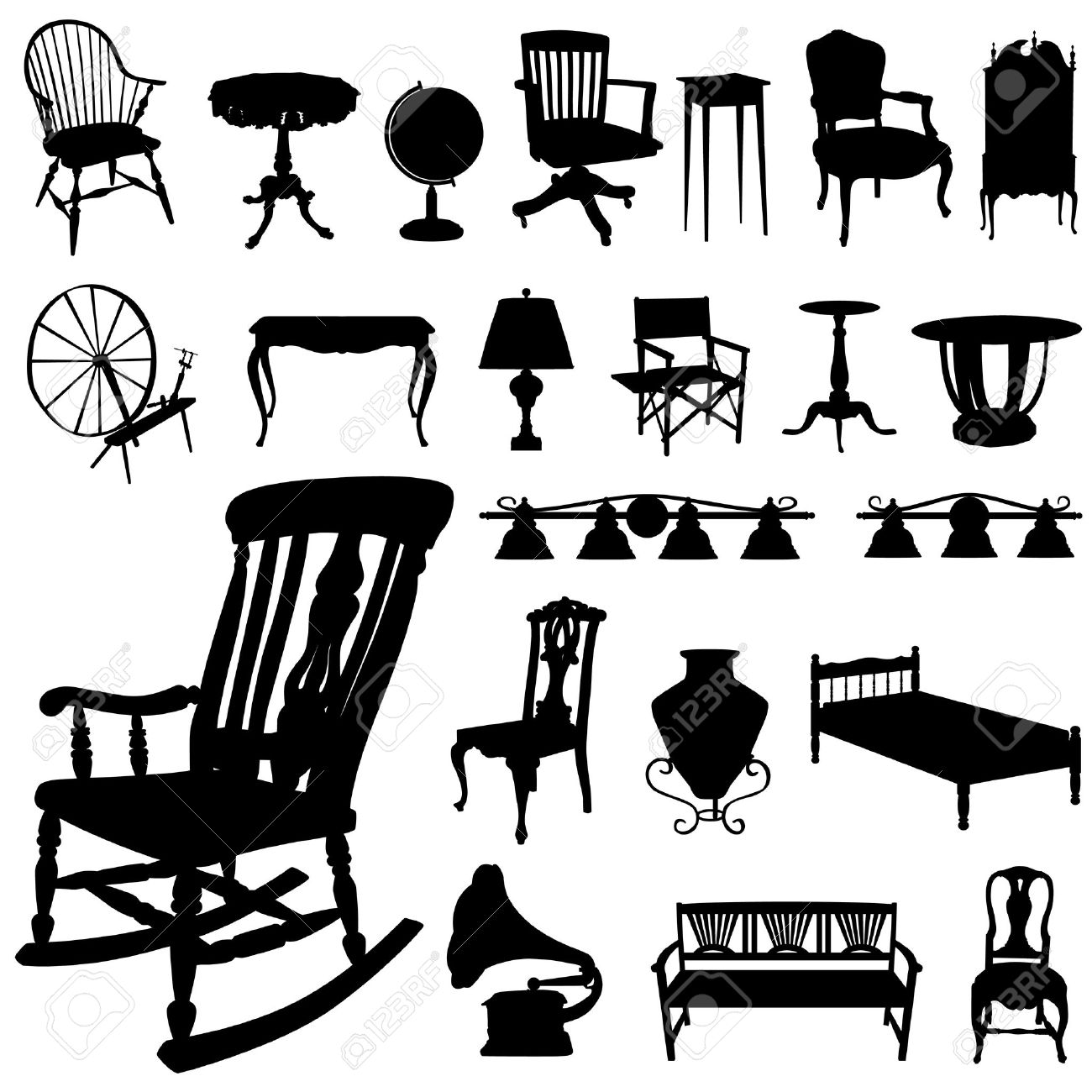 Antique chair silhouette - Vector Set Of Antique Furniture
