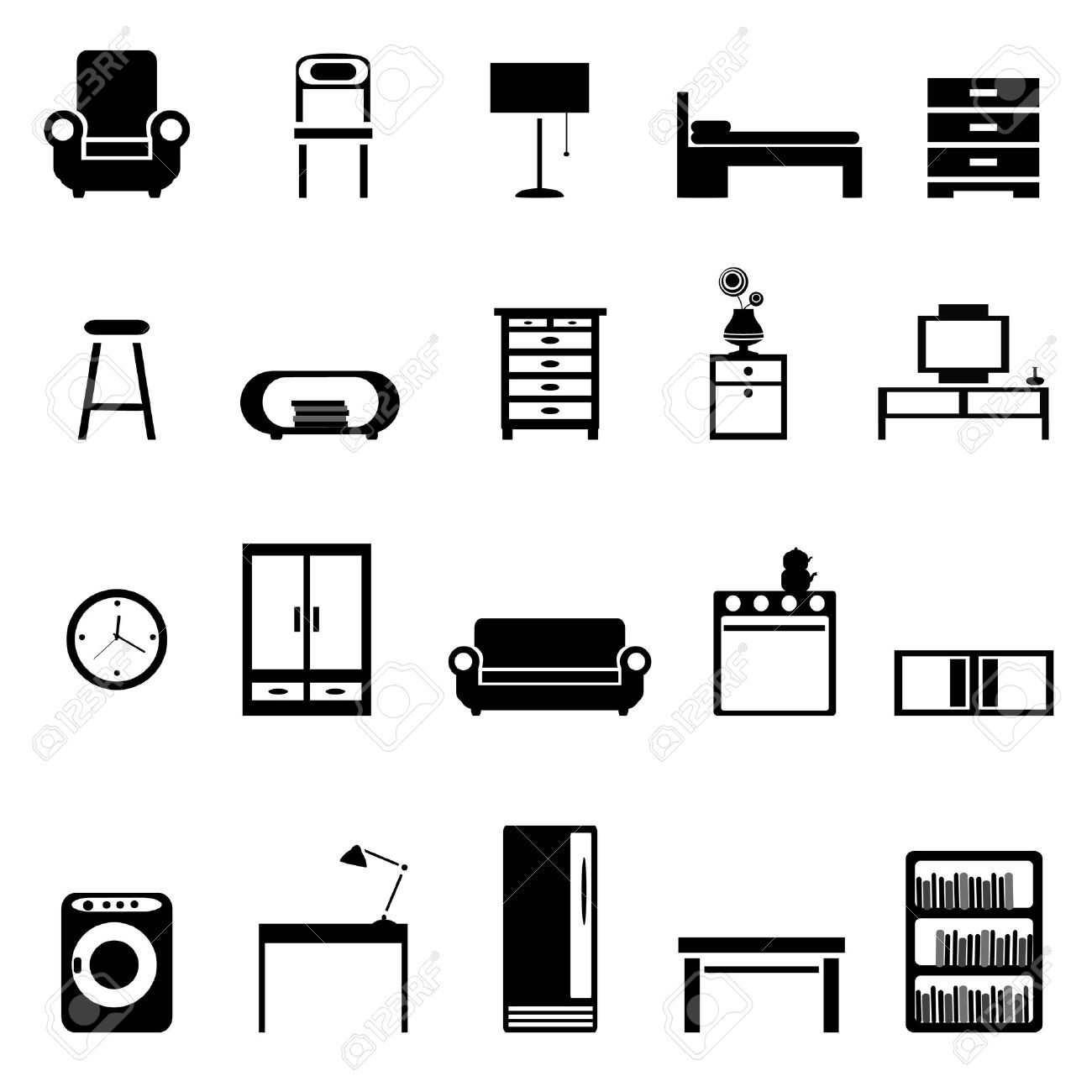 Creative Furniture Icons Set Flat Design Line Furniture Icons