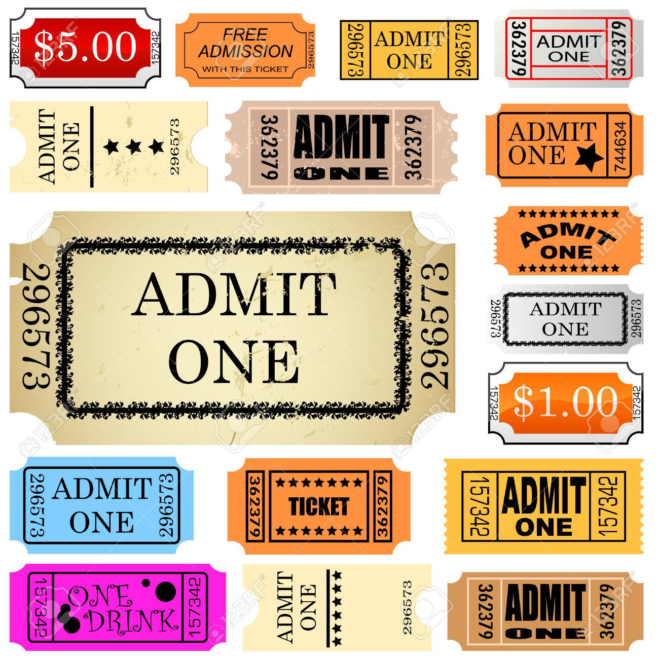 admit one ticket template free – Ticket Admit One Template