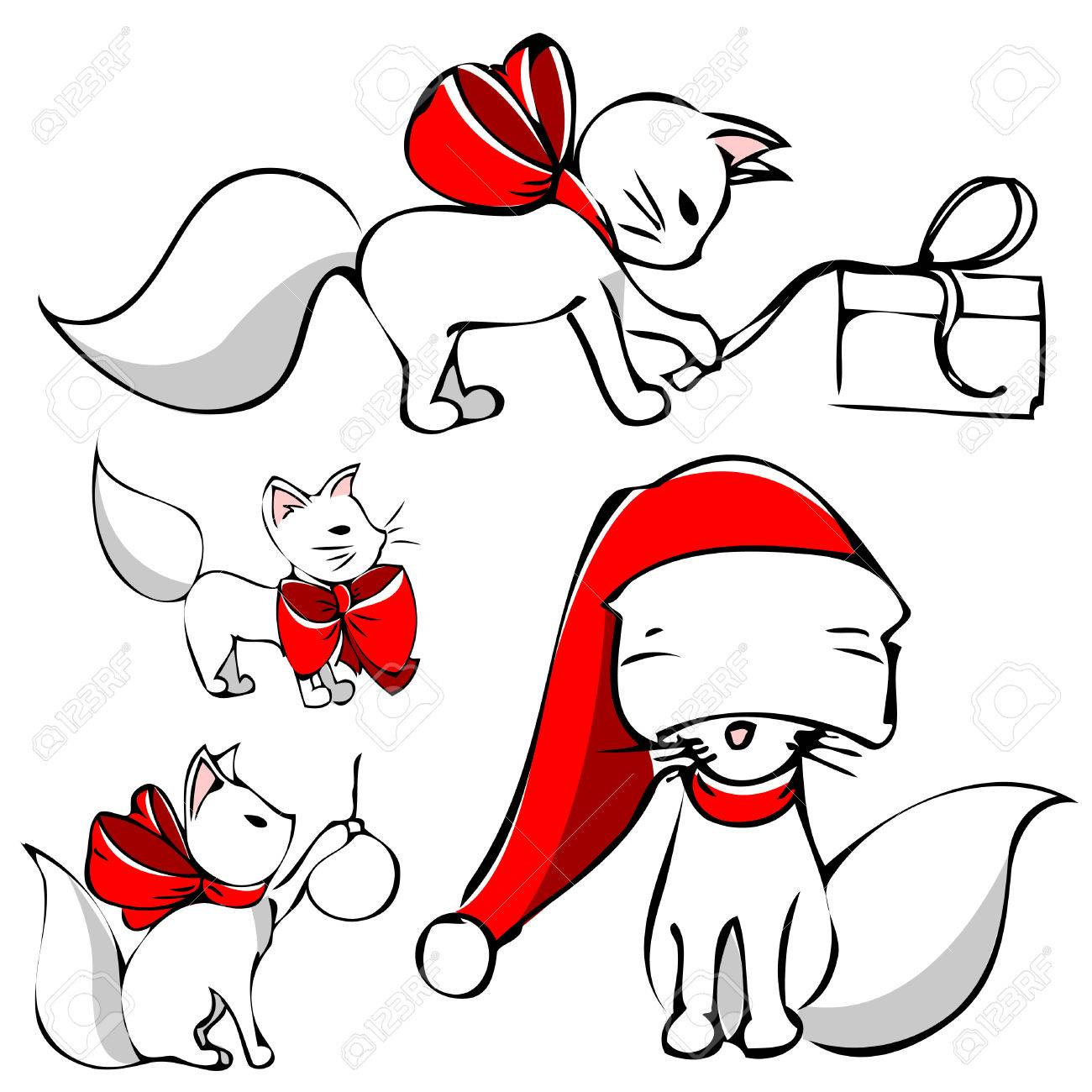 cute christmas cat Stock Vector - 8355486