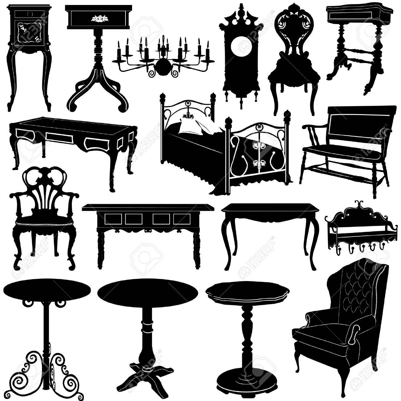 Antique chair silhouette - Vector Antique Furniture Vector