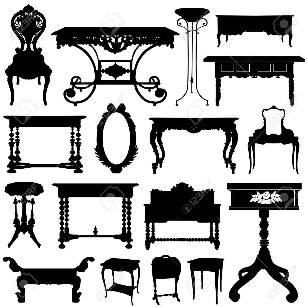 muebles antiguos ilustraciones vectoriales, clip art vectorizado ... - Muebles Antiguos