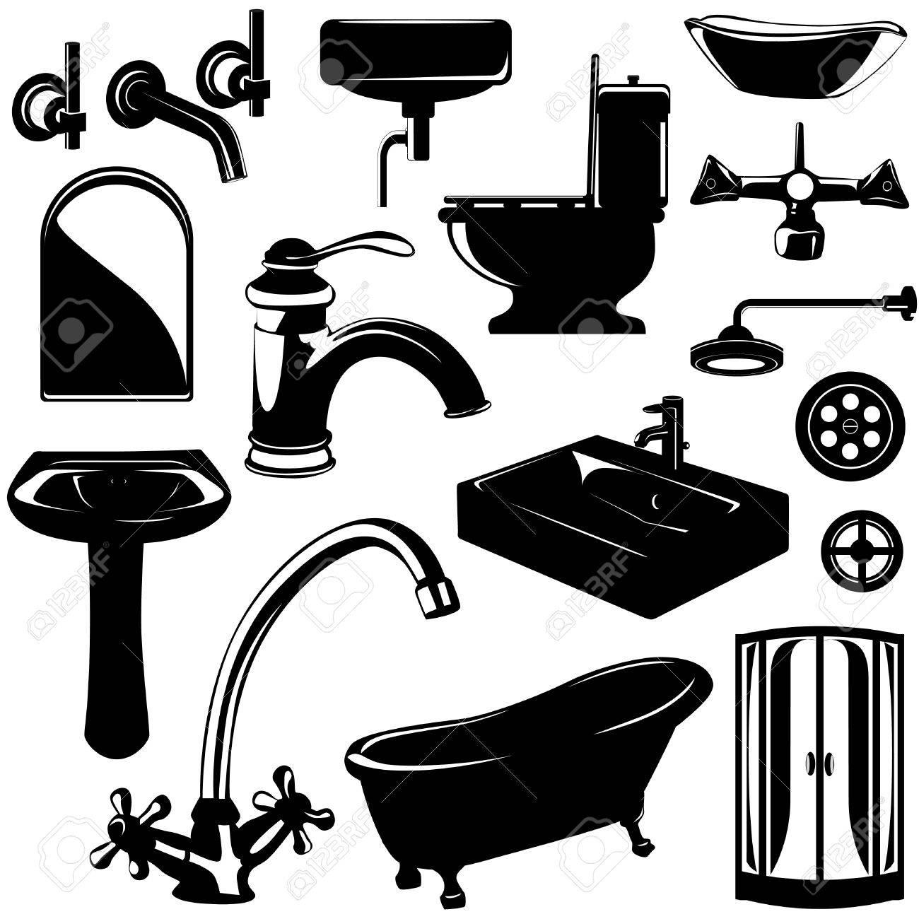 Bathroom sink clip art - Set Of Bathroom Objects Vector Stock Vector 8516057