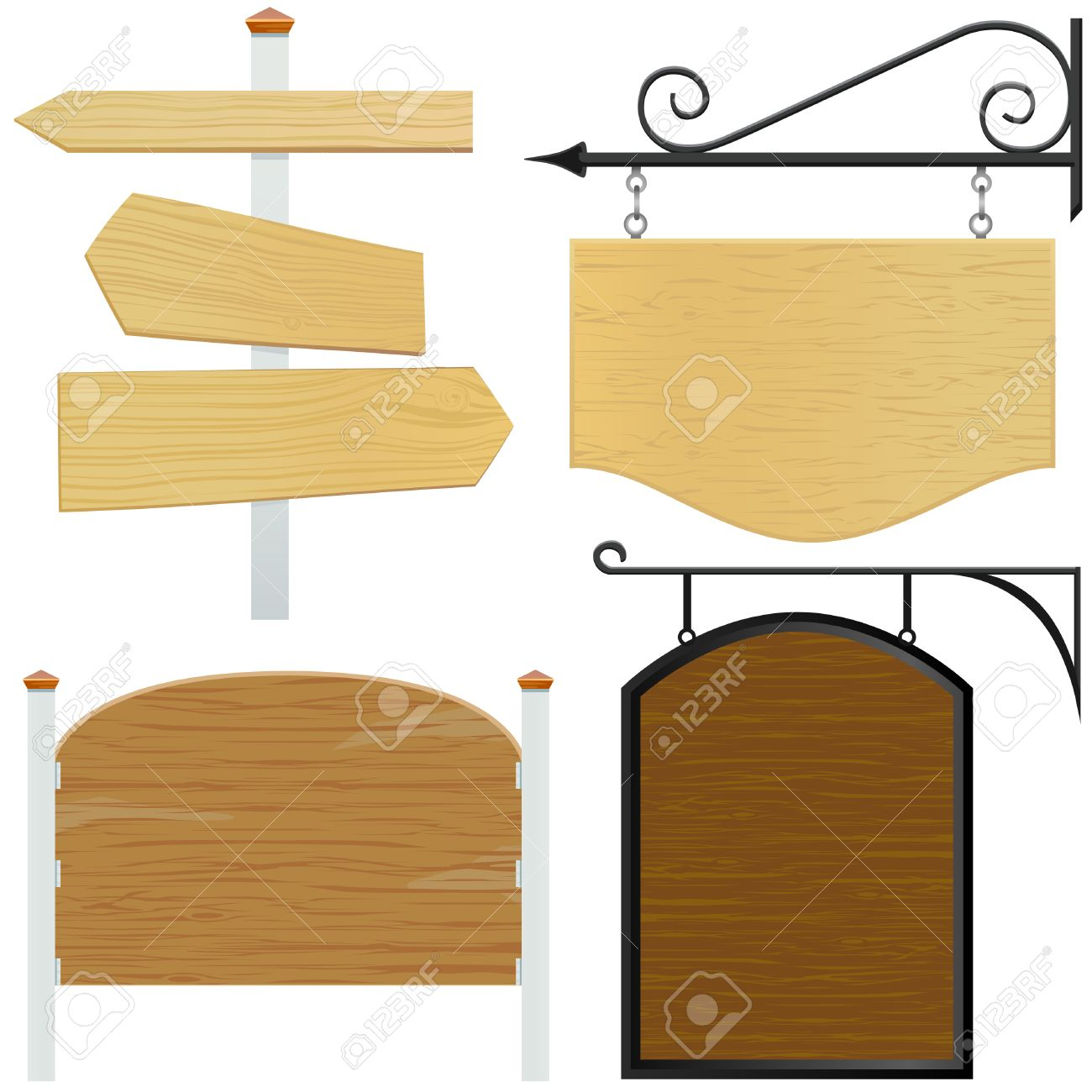 set of wooden sign vector Stock Vector - 8516111